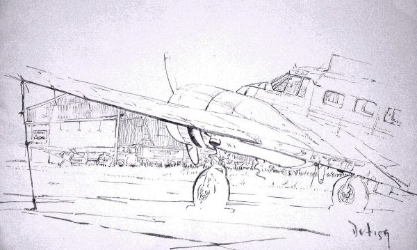 "Brush & Ink, 1959: C-45 ""Twin Beech"" at Melbourne Airport"