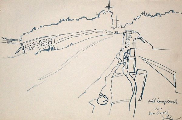 """Brush & Ink, 1960: The """"Old Hump Back"""" Bridge on Rt 1 South of Eau Galley"""