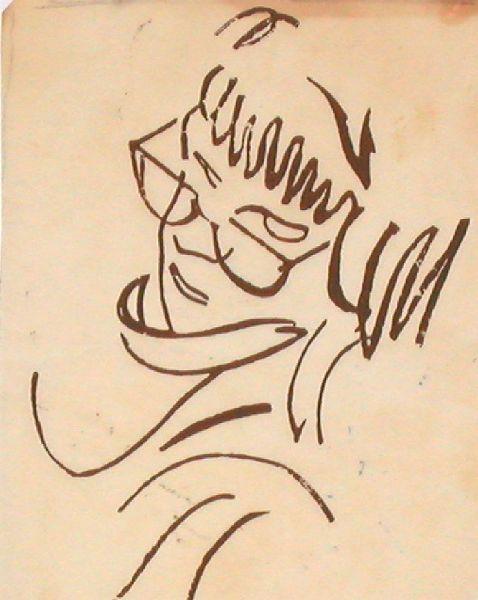 Linoleum Block Cut of Brush & Ink Drawing