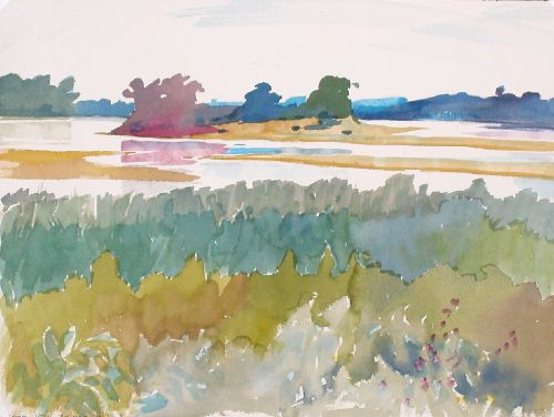 Watercolor, 2003: The Kaw at Cedar Creek