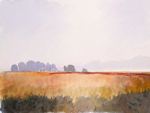 Watercolor, 2003: Red Barns, II