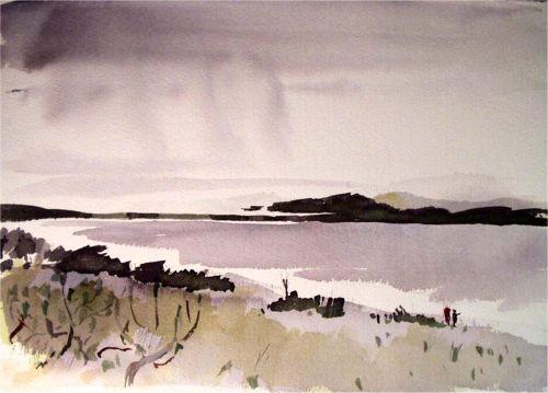 Watercolor, 2003: Rain Over Albany