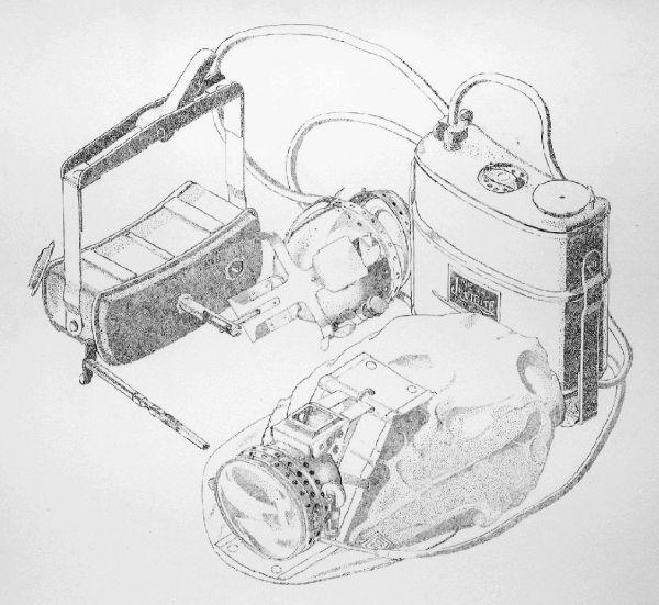 Brush & Ink Stipple on Mylar: Justrite #44 belt generator lamps